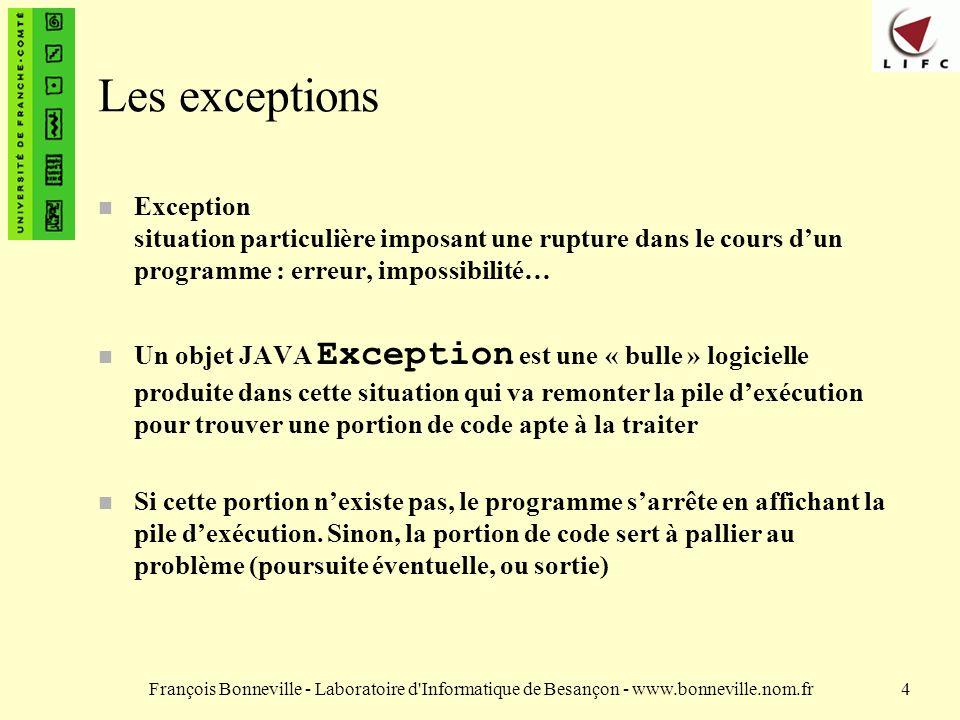 François Bonneville - Laboratoire d Informatique de Besançon - www.bonneville.nom.fr15 Exemple de propagation public int ajouter(int a, String str) throws NumberFormatException int b = Integer.parseInt(str); a = a + b; return a; }