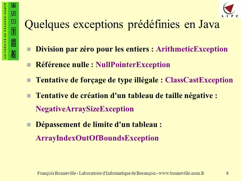 François Bonneville - Laboratoire d Informatique de Besançon - www.bonneville.nom.fr19 Levée d exceptions Le programmeur peut lever ses propres exceptions à l aide du mot réservé throw.