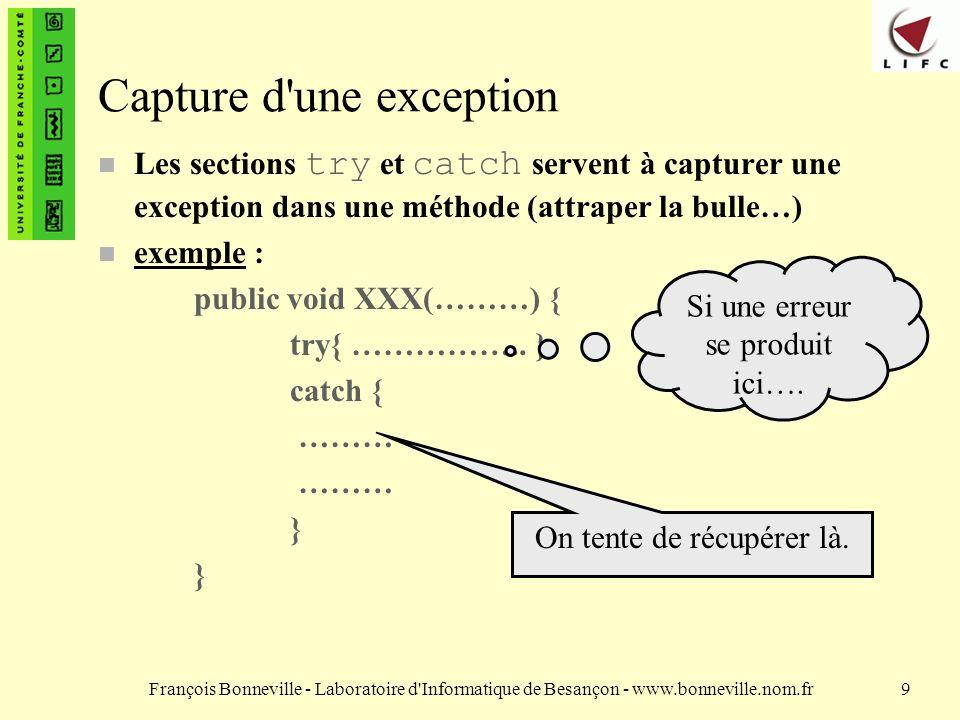 François Bonneville - Laboratoire d Informatique de Besançon - www.bonneville.nom.fr20 Emission d une exception n L exception elle-même est levée par l instruction throw.