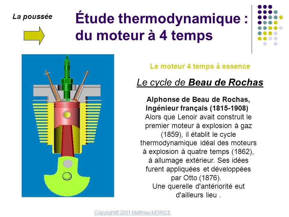Étude thermodynamique : du moteur à 4 temps La poussée Le moteur 4 temps à essence Le cycle de Beau de Rochas Alphonse de Beau de Rochas, Ingénieur fr