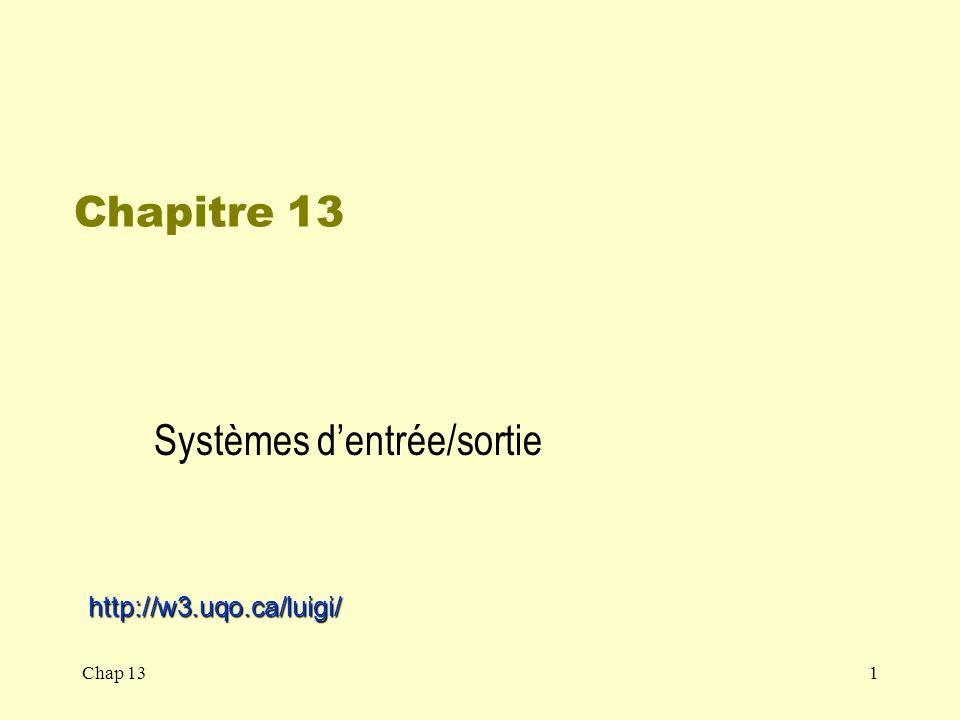 Chap 1322 Sous-système E/S du noyau Fonctionnalités: –Ordonnancement E/S –Mise en tampon –Mise en cache –Mise en attente et réservation de périphérique –Gestion des erreurs