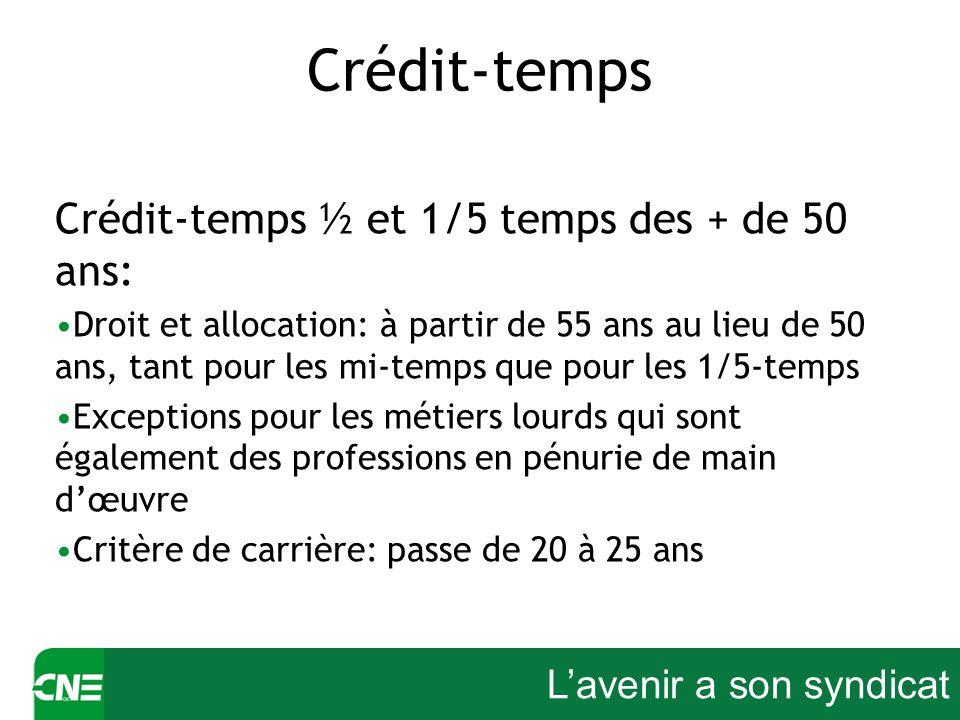 Lavenir a son syndicat Crédit-temps Crédit-temps ½ et 1/5 temps des + de 50 ans: Droit et allocation: à partir de 55 ans au lieu de 50 ans, tant pour