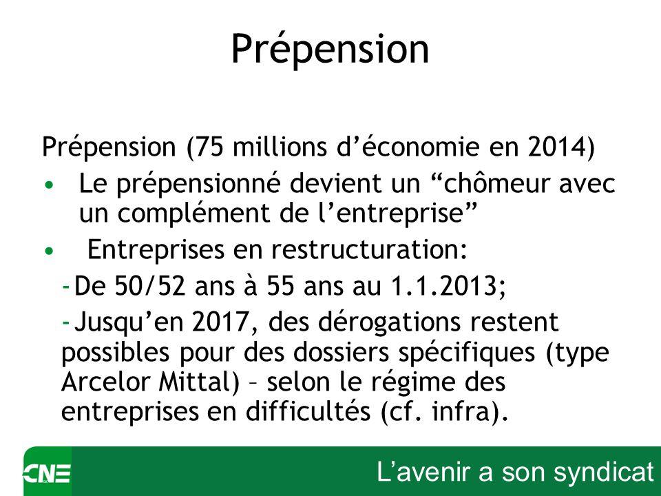 Lavenir a son syndicat Prépension Prépension (75 millions déconomie en 2014) Le prépensionné devient un chômeur avec un complément de lentreprise Entr