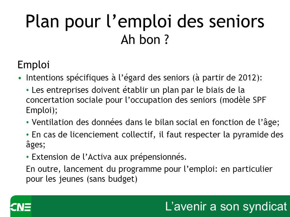 Lavenir a son syndicat Plan pour lemploi des seniors Ah bon ? Emploi Intentions spécifiques à légard des seniors (à partir de 2012): Les entreprises d