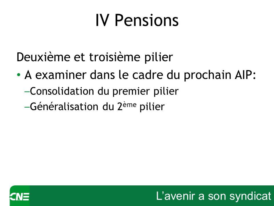 Lavenir a son syndicat IV Pensions Deuxième et troisième pilier A examiner dans le cadre du prochain AIP: – Consolidation du premier pilier – Générali