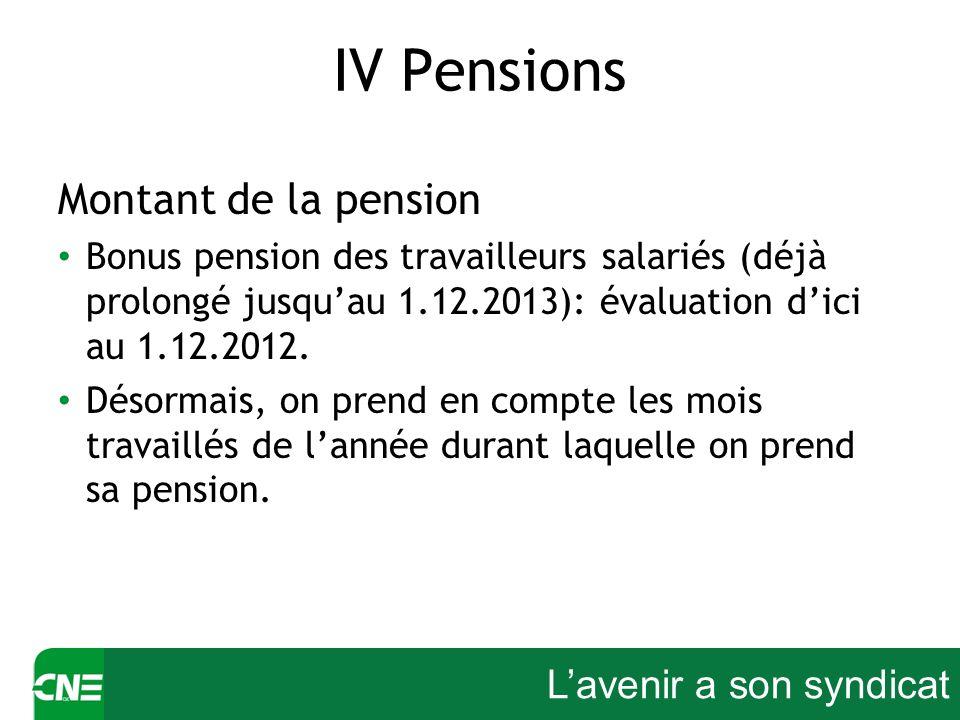 Lavenir a son syndicat IV Pensions Montant de la pension Bonus pension des travailleurs salariés (déjà prolongé jusquau 1.12.2013): évaluation dici au