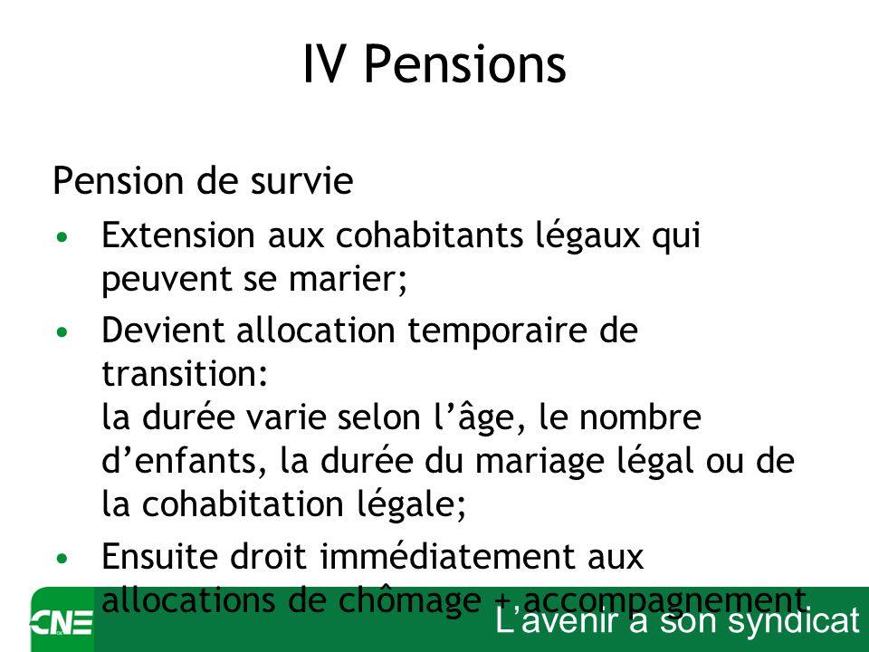 Lavenir a son syndicat IV Pensions Pension de survie Extension aux cohabitants légaux qui peuvent se marier; Devient allocation temporaire de transiti