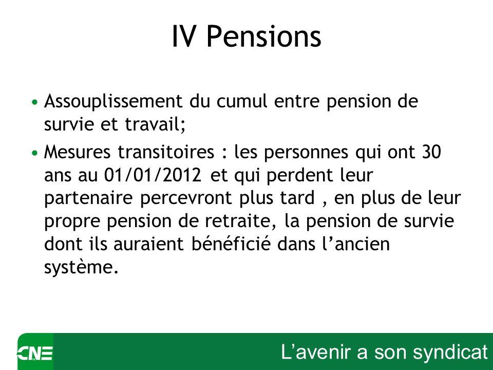 Lavenir a son syndicat IV Pensions Assouplissement du cumul entre pension de survie et travail; Mesures transitoires : les personnes qui ont 30 ans au