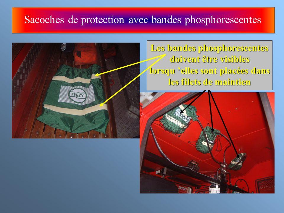 Sacoches de protection avec bandes phosphorescentes Les bandes phosphorescentes doivent être visibles lorsqu elles sont placées dans les filets de mai