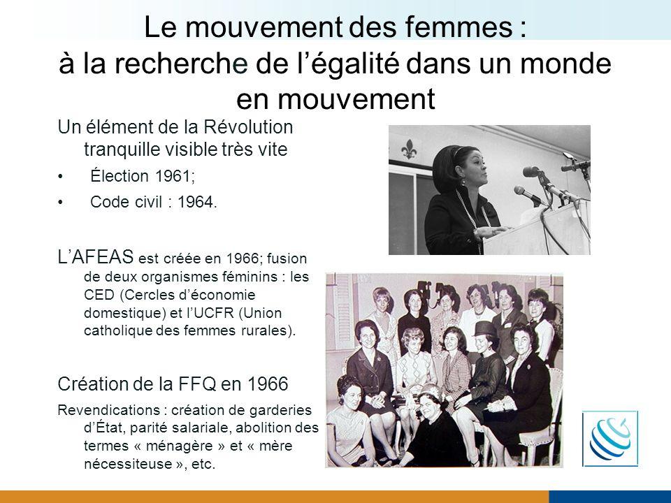 Le mouvement des femmes : à la recherche de légalité dans un monde en mouvement Un élément de la Révolution tranquille visible très vite Élection 1961
