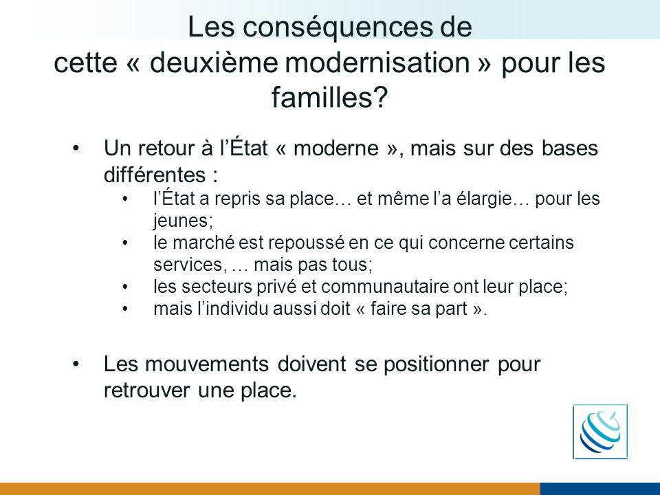 Les conséquences de cette « deuxième modernisation » pour les familles? Un retour à lÉtat « moderne », mais sur des bases différentes : lÉtat a repris