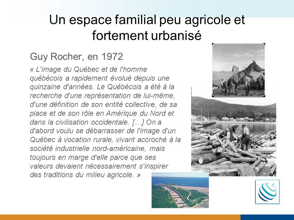 Un espace familial peu agricole et fortement urbanisé Guy Rocher, en 1972 « L'image du Québec et de l'homme québécois a rapidement évolué depuis une q
