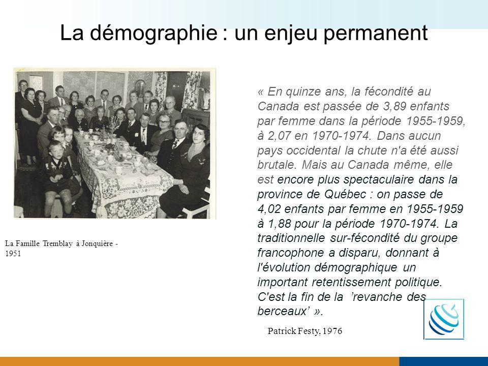 La démographie : un enjeu permanent « En quinze ans, la fécondité au Canada est passée de 3,89 enfants par femme dans la période 1955-1959, à 2,07 en