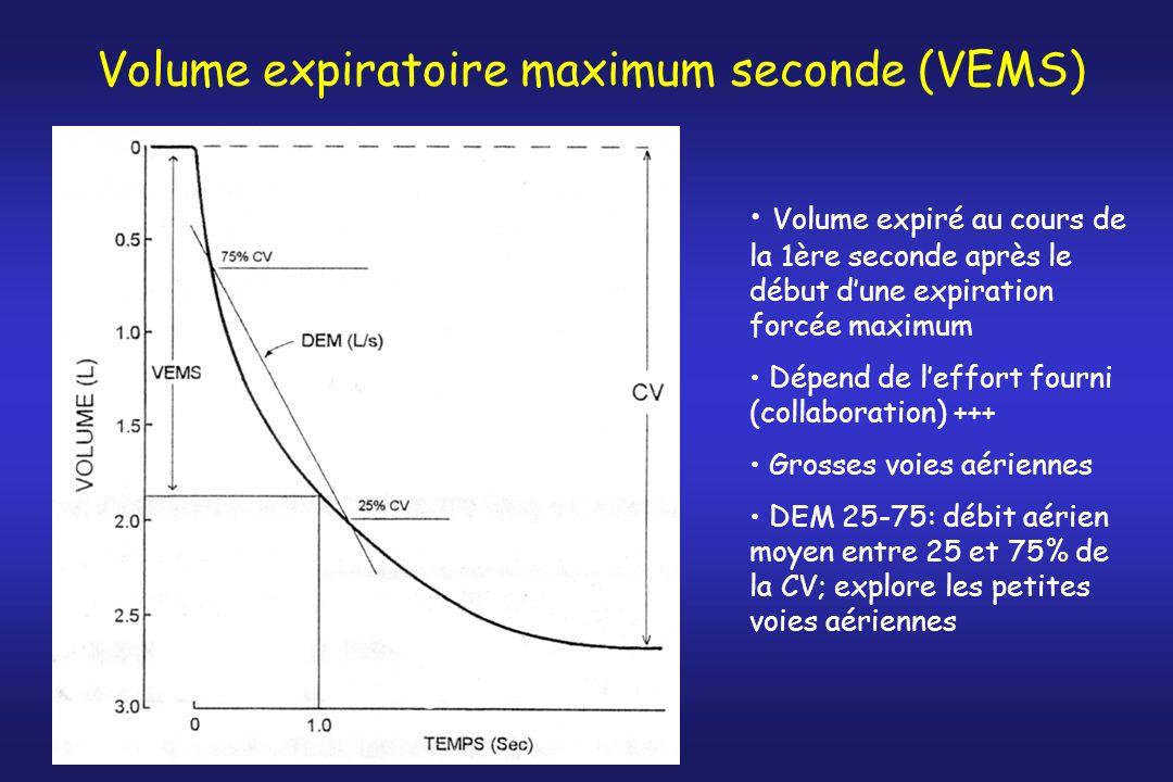 Volume expiratoire maximum seconde (VEMS) Volume expiré au cours de la 1ère seconde après le début dune expiration forcée maximum Dépend de leffort fo