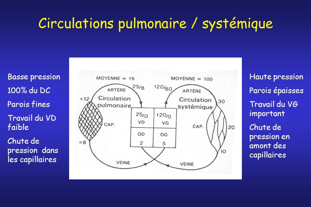 Circulations pulmonaire / systémique Basse pression 100% du DC Parois fines Travail du VD faible Chute de pression dans les capillaires Haute pression