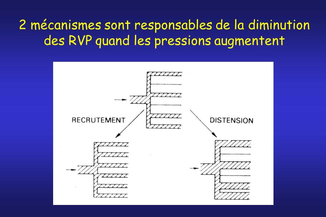 2 mécanismes sont responsables de la diminution des RVP quand les pressions augmentent