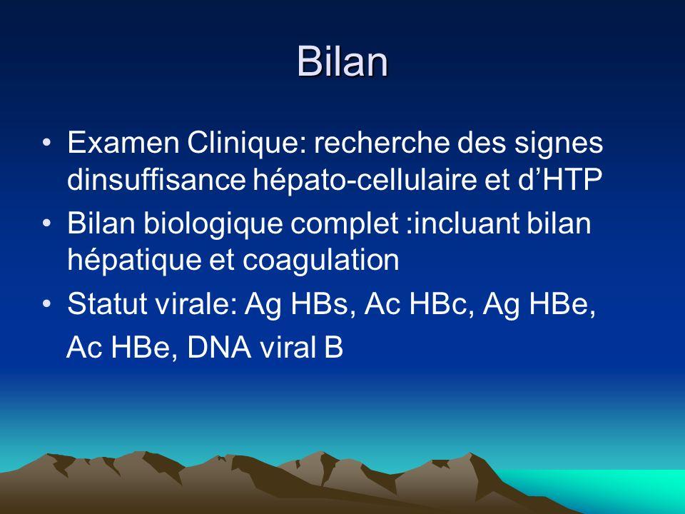 Bilan Examen Clinique: recherche des signes dinsuffisance hépato-cellulaire et dHTP Bilan biologique complet :incluant bilan hépatique et coagulation Statut virale: Ag HBs, Ac HBc, Ag HBe, Ac HBe, DNA viral B