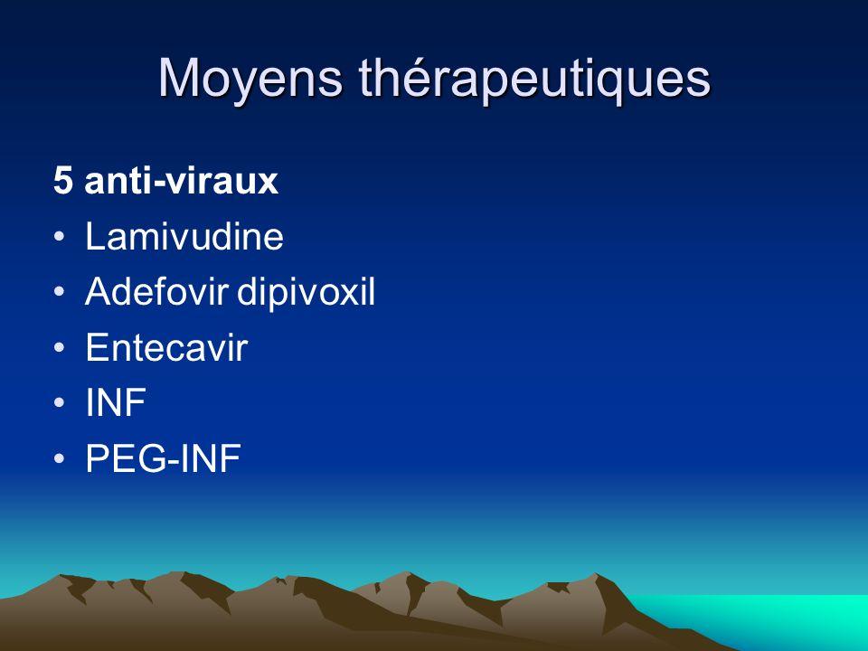 Moyens thérapeutiques 5 anti-viraux Lamivudine Adefovir dipivoxil Entecavir INF PEG-INF