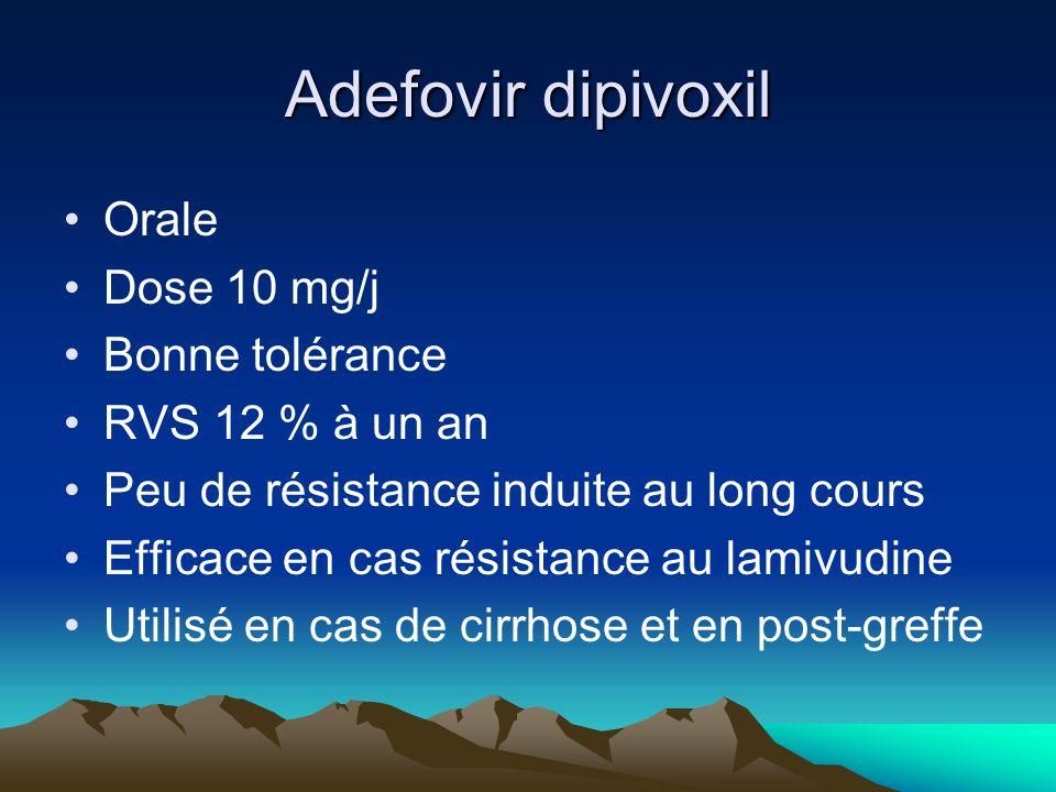 Adefovir dipivoxil Orale Dose 10 mg/j Bonne tolérance RVS 12 % à un an Peu de résistance induite au long cours Efficace en cas résistance au lamivudine Utilisé en cas de cirrhose et en post-greffe