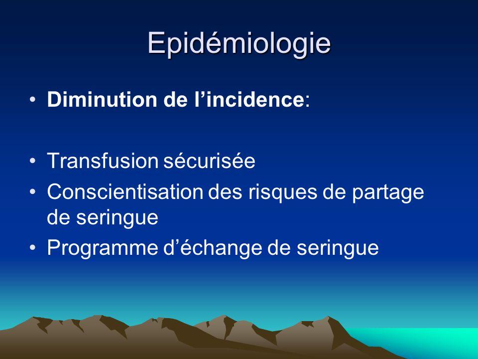 Epidémiologie Diminution de lincidence: Transfusion sécurisée Conscientisation des risques de partage de seringue Programme déchange de seringue