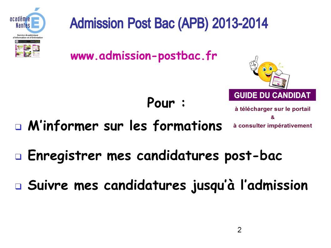 2 Pour : Minformer sur les formations Enregistrer mes candidatures post-bac Suivre mes candidatures jusquà ladmission www.admission-postbac.fr