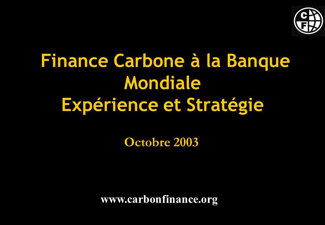Finance Carbone à la Banque Mondiale Expérience et Stratégie Octobre 2003 www.carbonfinance.org