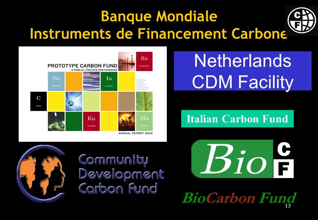 13 Banque Mondiale Instruments de Financement Carbone BioCarbon Fund Netherlands CDM Facility Italian Carbon Fund