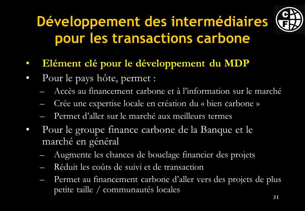 31 Développement des intermédiaires pour les transactions carbone Elément clé pour le développement du MDP Pour le pays hôte, permet : –Accès au financement carbone et à linformation sur le marché –Crée une expertise locale en création du « bien carbone » –Permet daller sur le marché aux meilleurs termes Pour le groupe finance carbone de la Banque et le marché en général –Augmente les chances de bouclage financier des projets –Réduit les coûts de suivi et de transaction –Permet au financement carbone daller vers des projets de plus petite taille / communautés locales