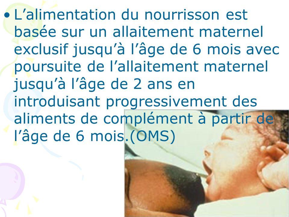 Lalimentation du nourrisson est basée sur un allaitement maternel exclusif jusquà lâge de 6 mois avec poursuite de lallaitement maternel jusquà lâge d