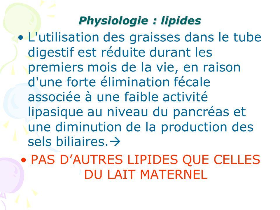 Physiologie : lipides L'utilisation des graisses dans le tube digestif est réduite durant les premiers mois de la vie, en raison d'une forte éliminati