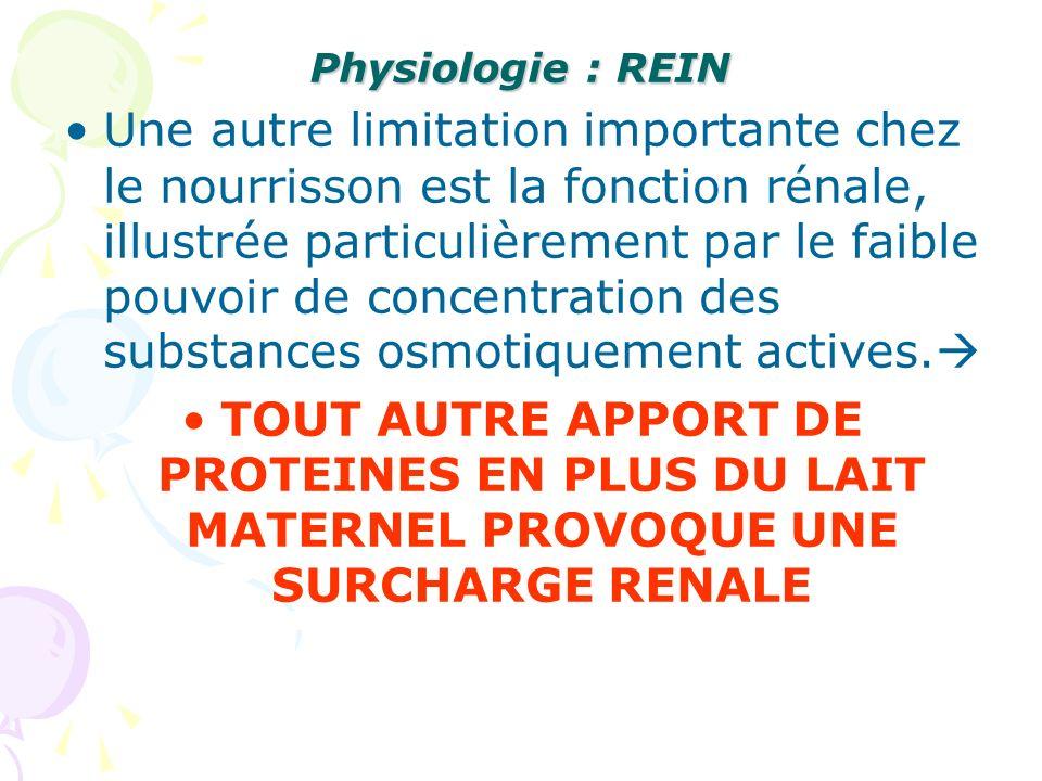 Physiologie : REIN Une autre limitation importante chez le nourrisson est la fonction rénale, illustrée particulièrement par le faible pouvoir de conc