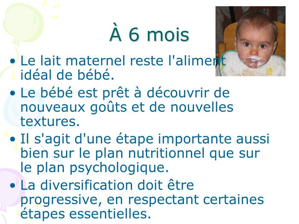 À 6 mois Le lait maternel reste l'aliment idéal de bébé. Le bébé est prêt à découvrir de nouveaux goûts et de nouvelles textures. Il s'agit d'une étap