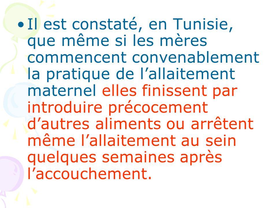 Il est constaté, en Tunisie, que même si les mères commencent convenablement la pratique de lallaitement maternel elles finissent par introduire préco