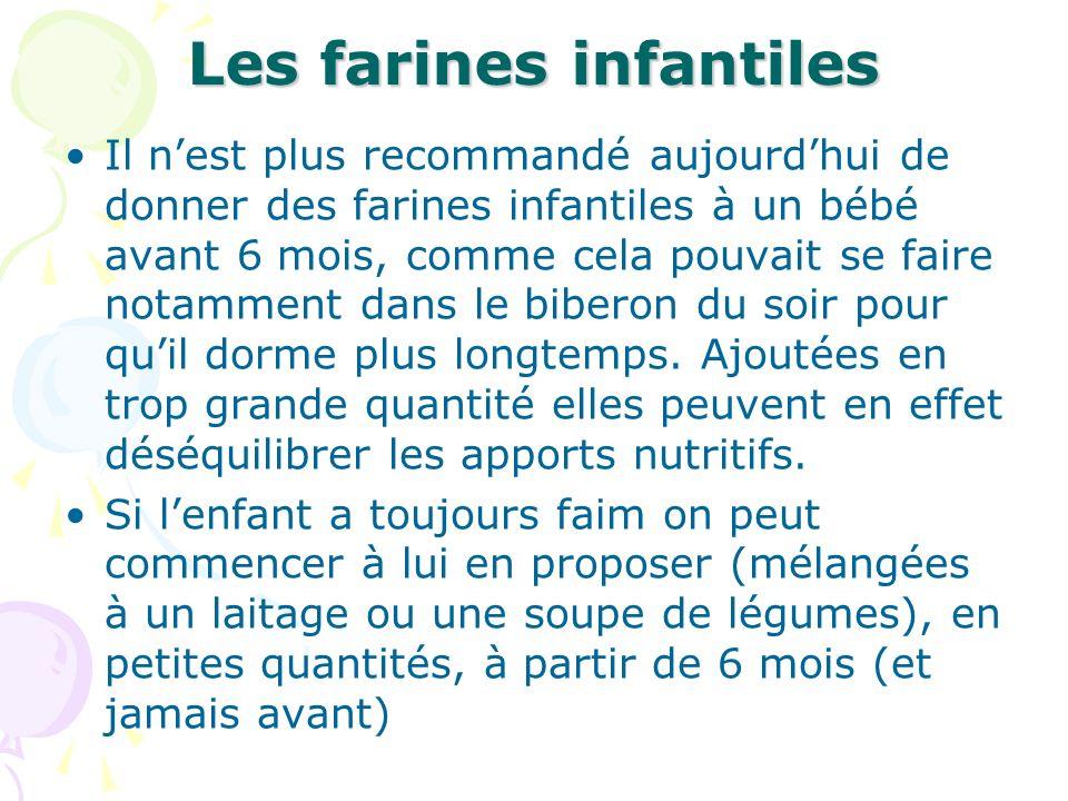 Les farines infantiles Il nest plus recommandé aujourdhui de donner des farines infantiles à un bébé avant 6 mois, comme cela pouvait se faire notamme