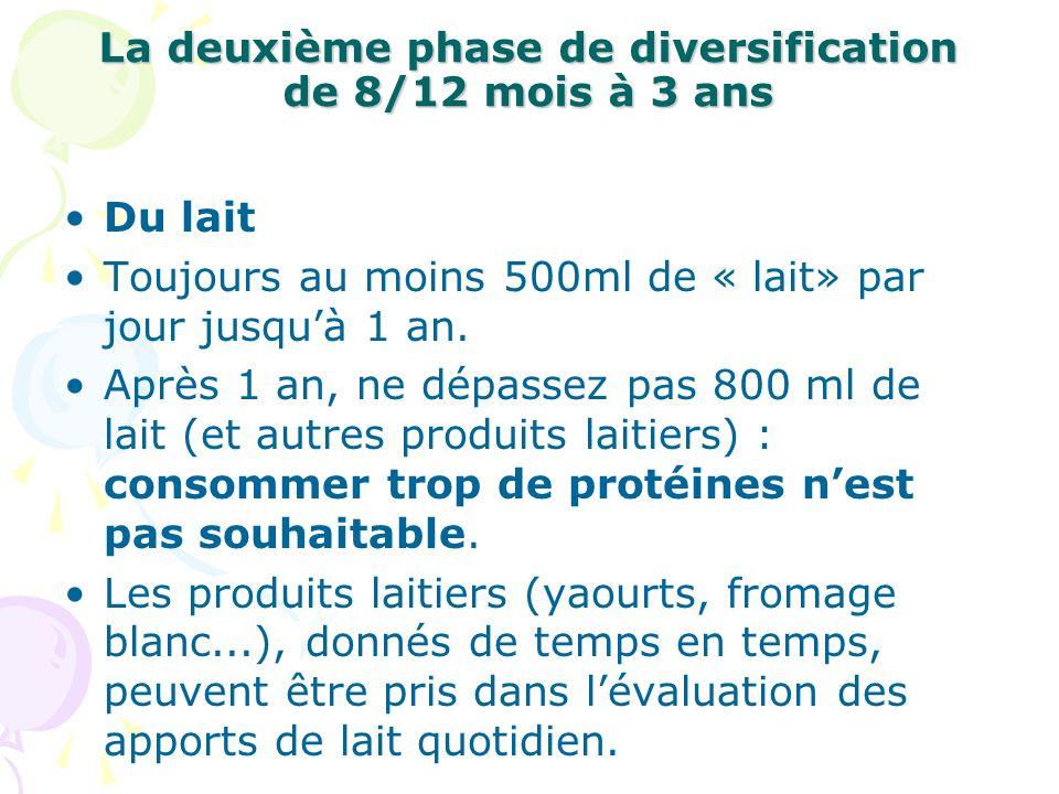 La deuxième phase de diversification de 8/12 mois à 3 ans Du lait Toujours au moins 500ml de « lait» par jour jusquà 1 an. Après 1 an, ne dépassez pas