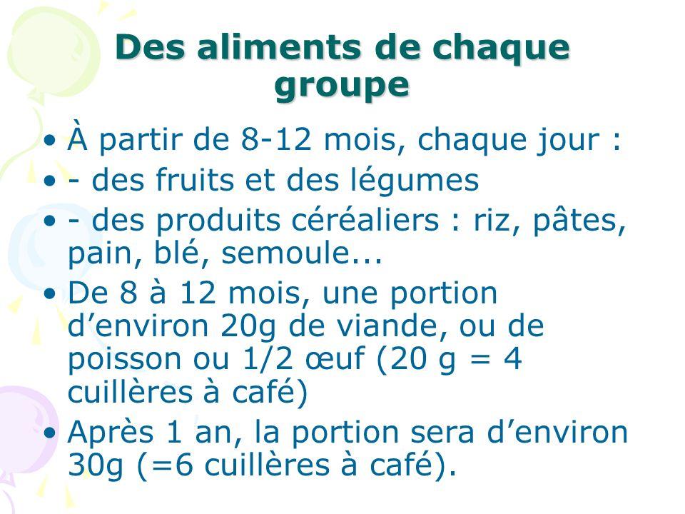 Des aliments de chaque groupe À partir de 8-12 mois, chaque jour : - des fruits et des légumes - des produits céréaliers : riz, pâtes, pain, blé, semo