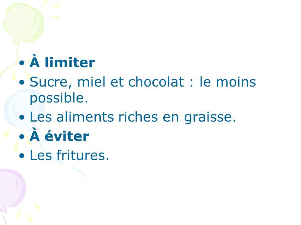 À limiter Sucre, miel et chocolat : le moins possible. Les aliments riches en graisse. À éviter Les fritures.
