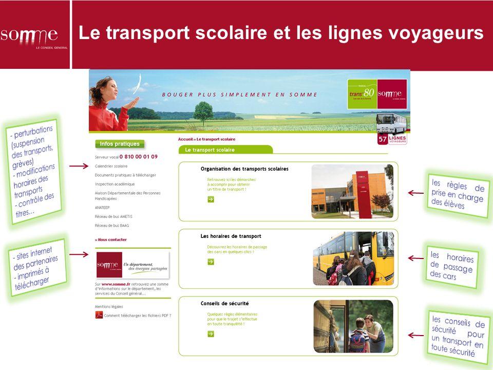 Le transport scolaire et les lignes voyageurs