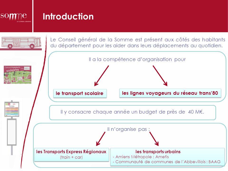 Introduction Il a la compétence dorganisation pour le transport scolaire les lignes voyageurs du réseau trans80 Le Conseil général de la Somme est présent aux côtés des habitants du département pour les aider dans leurs déplacements au quotidien.