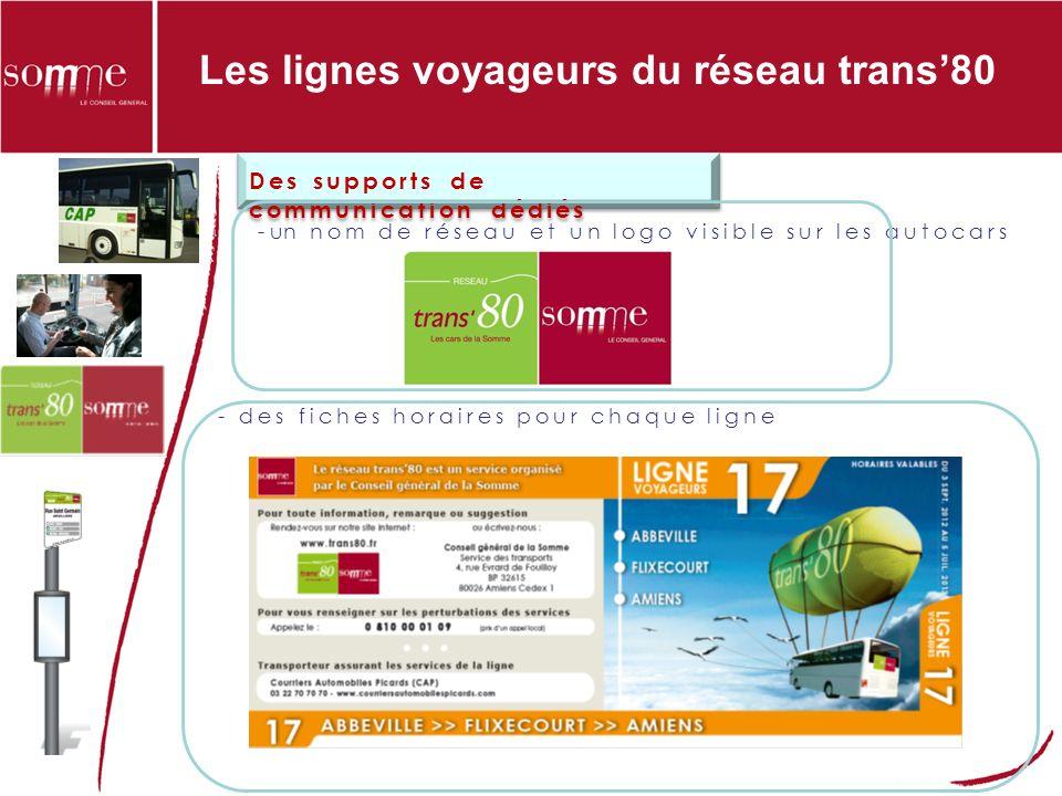 Les lignes voyageurs du réseau trans80 Des supports de communication dédiés - un nom de réseau et un logo visible sur les autocars - des fiches horaires pour chaque ligne