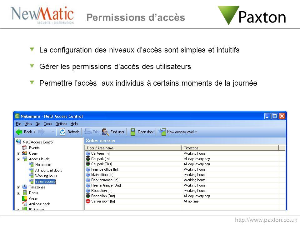 Permissions daccès http://www.paxton.co.uk La configuration des niveaux daccès sont simples et intuitifs Gérer les permissions daccès des utilisateurs