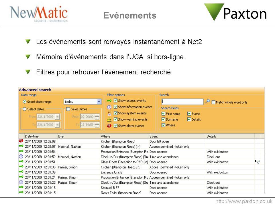 Evénements http://www.paxton.co.uk Les événements sont renvoyés instantanément à Net2 Mémoire dévénements dans lUCA si hors-ligne. Filtres pour retrou