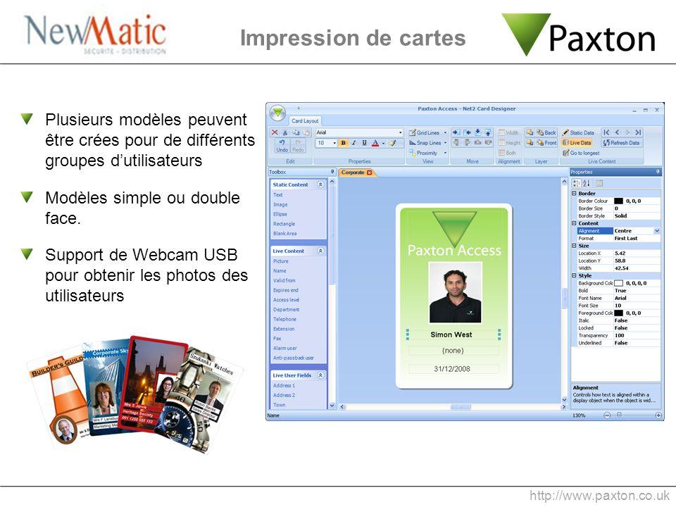 Impression de cartes Plusieurs modèles peuvent être crées pour de différents groupes dutilisateurs Modèles simple ou double face. Support de Webcam US