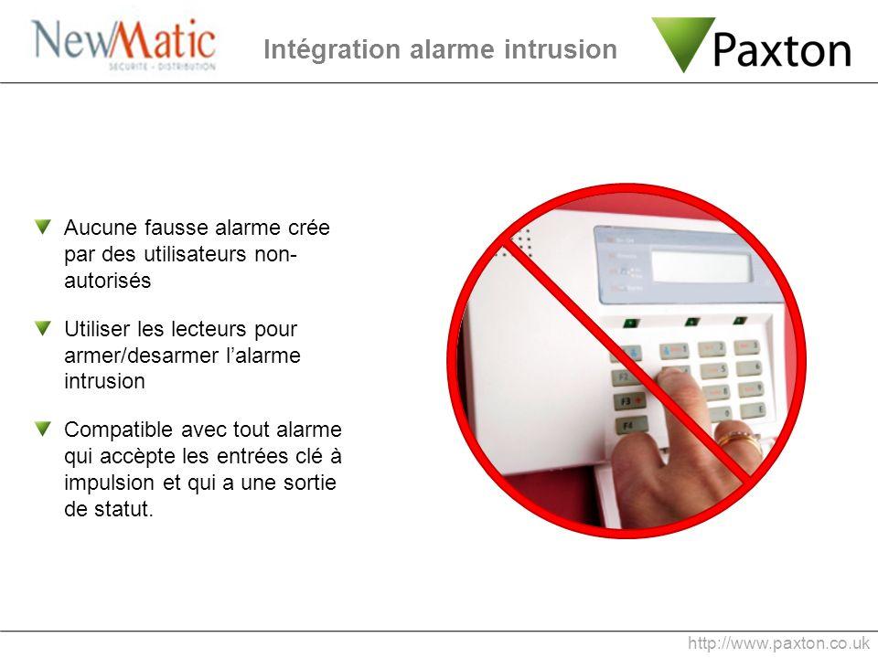 Intégration alarme intrusion Aucune fausse alarme crée par des utilisateurs non- autorisés Utiliser les lecteurs pour armer/desarmer lalarme intrusion