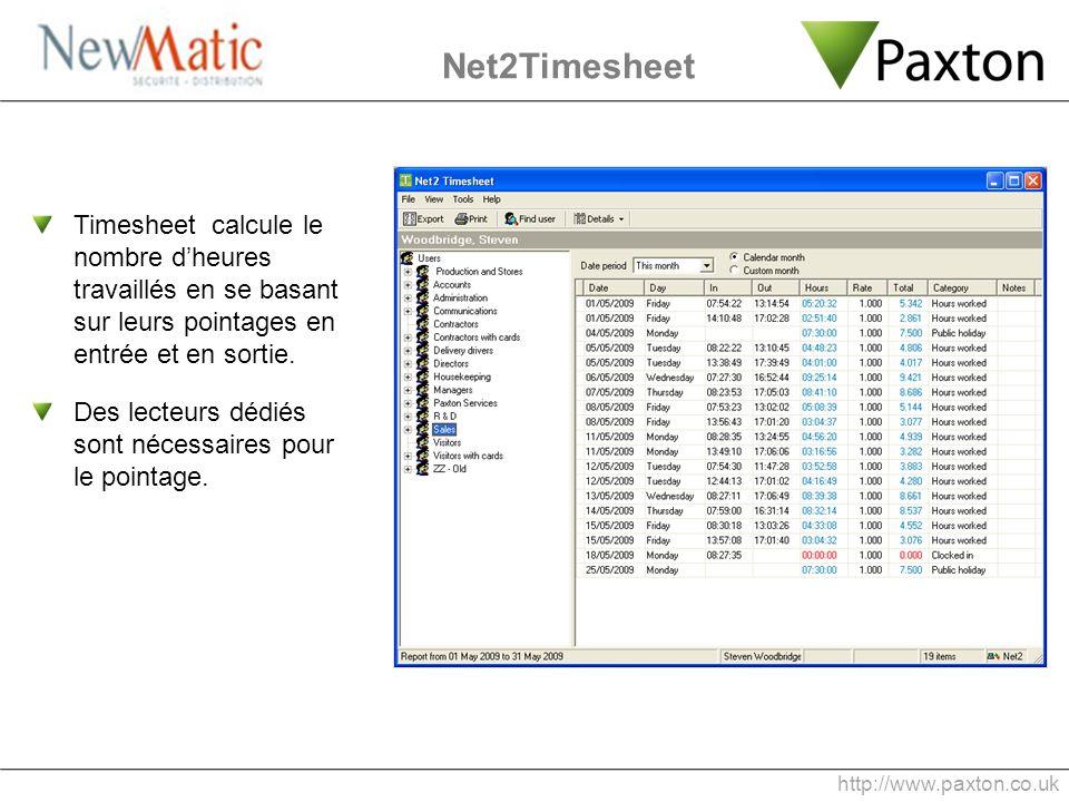 Net2Timesheet Timesheet calcule le nombre dheures travaillés en se basant sur leurs pointages en entrée et en sortie. Des lecteurs dédiés sont nécessa