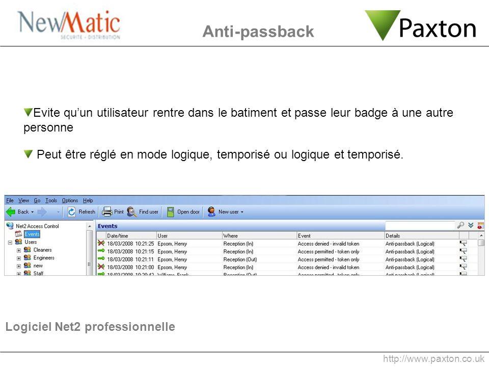 Anti-passback Evite quun utilisateur rentre dans le batiment et passe leur badge à une autre personne Peut être réglé en mode logique, temporisé ou lo