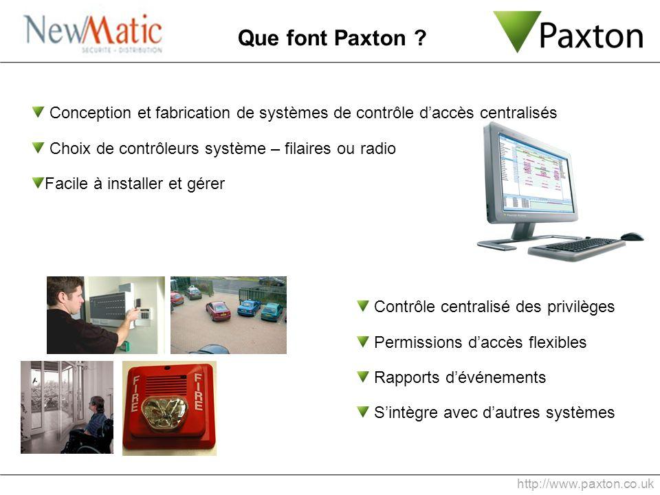 http://www.paxton.co.uk Que font Paxton ? Conception et fabrication de systèmes de contrôle daccès centralisés Choix de contrôleurs système – filaires