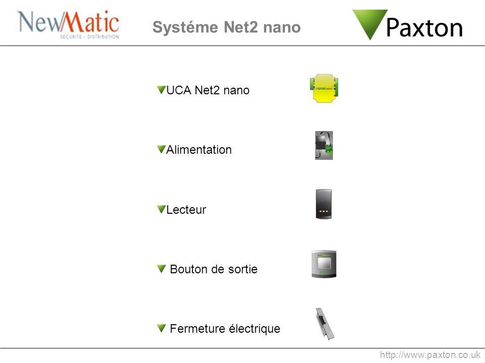 UCA Net2 nano Alimentation Lecteur Bouton de sortie Fermeture électrique Systéme Net2 nano http://www.paxton.co.uk