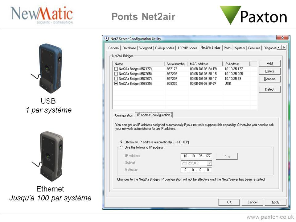 Ponts Net2air www.paxton.co.uk USB 1 par système Ethernet Jusquà 100 par système