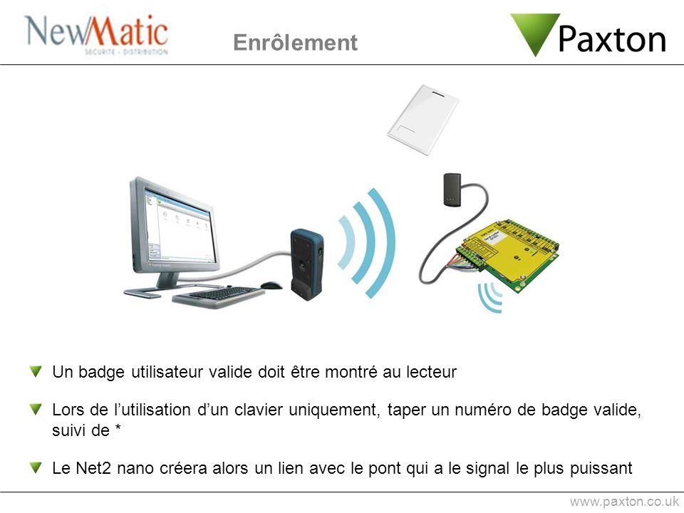 Enrôlement www.paxton.co.uk Un badge utilisateur valide doit être montré au lecteur Lors de lutilisation dun clavier uniquement, taper un numéro de ba